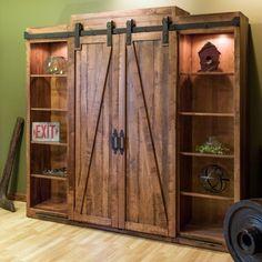Mueble-estantería multifuncional con puertas corredizas - terminado