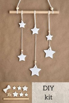 DIY kit wall hanging stars, white clay stars, DIY wall hanging, Stars wall hanging, DIY wall decor, Wall hanging kit, make your own walldeco #stars #diy #kit #decor #wallhaning #ad