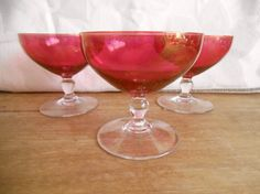 Vintage Trio of Cranberry Red Liqueur by EmporiwmYstalyfera,