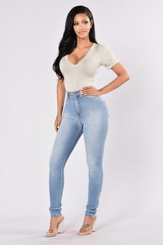 d0e3689c9bc Classic High Waist Skinny Jeans - Light Blue