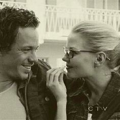 Neil and Emma (Once Upon a Time)    (I don't know why, but I like the hipster glasses look on a younger Emma and Neil...he's a cutie).