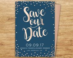 ROSE GOLD Save The Date Calligraphy Save The Date Blush Pink
