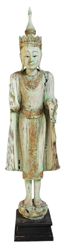 Thai Wood Buddha Statue on Chairish.com