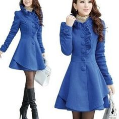 Love this feminine winter jacket and its ocean blue colour