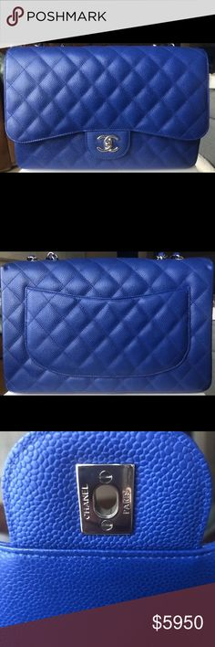 69c18b405dcd 10C Roi Blue Classic Single Flap Jumbo Caviar More photos available! PRICE  FIRM. $5,750 posh fees not included. 100% Authentic CHANEL Classic Single  Flap ...