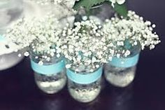 mason jar baby shower ideas with baby breath (I have the jars already!) use blue or pink ribbon. Good for tables