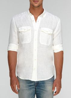 Cool Cat's Eye / Fitted Linen Men's Shirt with Handmade Buttons/ 3 Colors AZp2tX