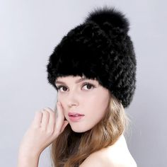 8cb245e03b1 Lovely Real Mink Fur Hat For Women Winter Knitted Mink Fur Beanies Cap With  Fox Fur Pom Poms Brand New Thick Female Cap