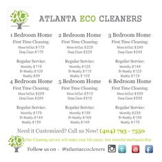 House Cleaning Prices - Atlanta Eco Cleaners Premier House Cleaning and Maid Service House Cleaning Prices, Cleaning Services Prices, Business Cleaning Services, House Cleaning Checklist, Household Cleaning Tips, House Prices, Italian Bedroom Sets, Studio Apartment Floor Plans, Bedroom Sets For Sale