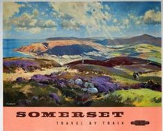 Vintage English poster - Somerset Travel by Train
