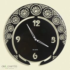 "Metal Wall clock ART NOUVEAU -  40 cm / 16"" - Laser cutting design - © Tolonensis Creation"