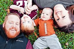 Best photography ideas for family, maternity and newborn pictures!  PIN NOW!    family photography, A football, A jersey, A apparel, family pictures, family of four, football themed pictures, maroon and white