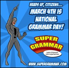 Here's a friendly reminder from Super Grammar: National Grammar Day is March Teaching Grammar, Grammar Lessons, National Grammar Day, Run On Sentences, Learn English Grammar, Teaching Activities, Teaching Ideas, Classroom Inspiration, Classroom Ideas