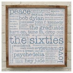 'The Sixties' handmade solid oak print