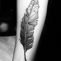 900e356a2 awesome Tattoo Trends - Manly Geometric Feather Tattoo Forearm Design Ideas  For Men. Inspired Tattoos And More
