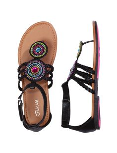 Girls Clothing   Sandals   Medallion T-Strap Sandals   Shop Justice