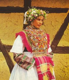 Europe | Portrait of a Sorbian young woman wearing traditional clothes and headdress, Germany