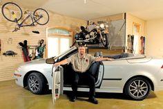 Look at the bike storage! Organized Garage, Garage Organization, Bike Storage, Car, Automobile, Cars, Bicycle Storage, Shed Organization