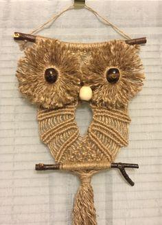 OWL #69 Macrame Wall Hanging, natural jute