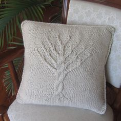 Tree of Life Hand Knit Pillow Cover by Ladyship Designs modern pillows