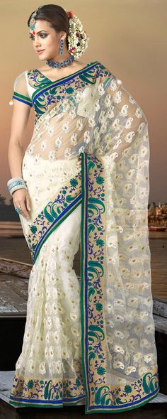 Off White Embroidered Net Saree