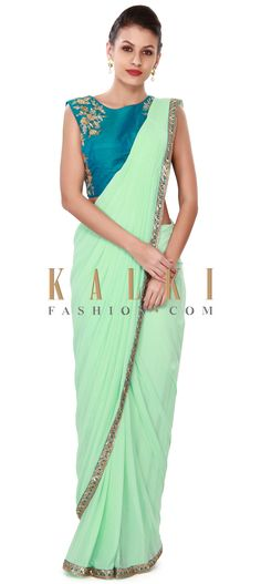 Buy this Pista green pre stitched saree with embroidered blouse only on Kalki