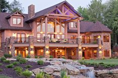 Exteriors by Wisconsin Log Homes - National Design & Build Services - Log, Timber Frame & Hybrid Homes - www. Log Home Decorating, Timber Frame Homes, Log Cabin Homes, Mountain Homes, Mountain Cabins, Mountain Man, House Goals, My Dream Home, Future House