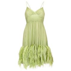 Preowned 1960s Couture Green Chiffon Dress With Feather Trim ($1,020) ❤ liked on Polyvore featuring dresses, green, vintage dresses, vintage green dress, beige cocktail dress, vintage mini dress and green cocktail dress