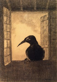 The Raven, 1882 by Odilon Redon. Symbolism. animal painting. National Gallery of Canada, Ottawa, Canada