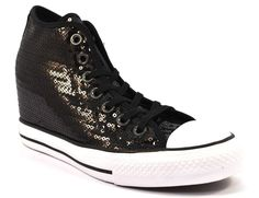 CONVERSE ALL STAR 556782C PAILLETTES NERO Zeppa Interna Donna Sneakers Bianca