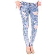 Jeans déchiré, bleu délavé à 24,99€ sur http://www.milyshop.com