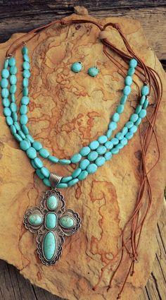 Cowgirl Bling CROSS Gypsy Southwestern FRINGE TURQUOISE necklace set #Unbranded