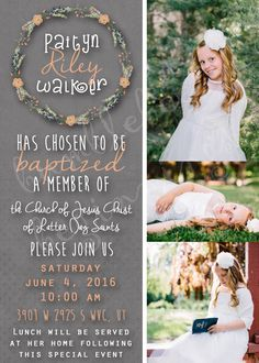 LDS baptism invitation girl: A personal favorite from my Etsy shop https://www.etsy.com/listing/281500234/lds-baptism-invitation
