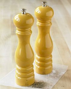 Gorgeous salt and pepper mills. http://www.williams-sonoma.com/products/dijon-peugeot-u-select-laquered-salt-and-pepper-mills/?pkey=csalt-pepper-mills%7Cctlsalmil