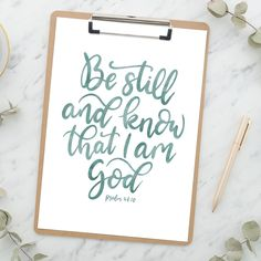 This comforting scripture verse is from The Psalms and reminds us to be still. For more inspirational Bible verses follow @the_lettering_tree on instagram. Bible Verses About Strength, Scripture Verses, Typography Letters, Hand Lettering, Comforting Scripture, Christian Love, Beautiful Hands, Be Still, Psalms