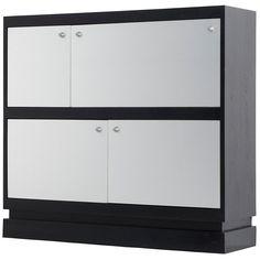 1stdibs | Belgium Black Ebonized Console with Aluminum Laminated Doors