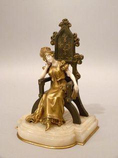 DOMINIQUE ALONZO Bronze ~ 1900/20 SCHLAFENDE PRINZESSIN AUF THRON