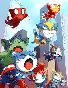 youngjusticer: A bunch of pussies. Meowvel's Avengers, by Irene Lee.