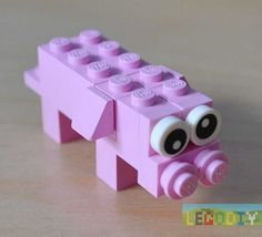 How to make simple pig from lego classic bricks. Photo instruction.