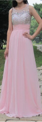 Prom Dress,Prom Gowns,Evening Dresses,Party Prom Dress, New Design Long Pink Chiffon Beading Sleeveless Modest Simple Cheap Prom Dresses