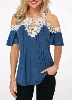 Tops For Women Navy Blue Crinkle Chest Cold Shoulder Blouse Stylish Tops For Girls, Trendy Tops For Women, Blouses For Women, Navy Blue Blouse, Black Blouse, Cold Shoulder Blouse, How To Roll Sleeves, Blouse Styles, Designer Dresses