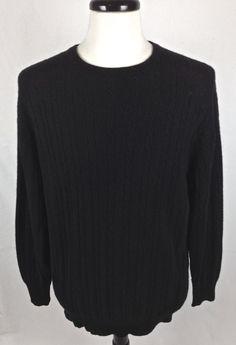 VTG Scottish Cashmere Sweater Mens Black Long Sleeve Scotland L #Cashmere #Crewneck