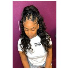 Braided Ponytail Hairstyles, Braided Hairstyles For Black Women, African Braids Hairstyles, Baddie Hairstyles, Braids For Black Hair, Loose Hairstyles, Girl Hairstyles, Black Hairstyles, Ethnic Hairstyles