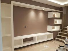 Déco peint  0666359053 Tv Wall Decor, Wall Decor Online, Tv Unit Design, Tv Wall Design, Plafond Staff, Lcd Panel Design, Tv Unit Furniture, Apartment Bedroom Decor, Interior Architecture