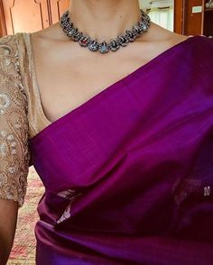Made to Order – Page 2 – Tamara Simple Sarees, Trendy Sarees, Stylish Sarees, Saree Blouse Patterns, Sari Blouse Designs, Hijab Outfit, Purple Saree, Saree Jewellery, Plain Saree