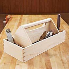 Heirloom Tool Tote Woodworking Plan from WOOD Magazine Small Woodworking Projects, Used Woodworking Tools, Small Wood Projects, Popular Woodworking, Woodworking Furniture, Woodworking Plans, Woodworking Nightstand, Diy Projects, Woodworking Tutorials