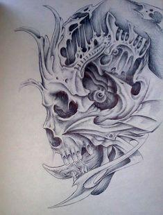 Shiva Tattoo Design, Skull Tattoo Design, Skull Design, Evil Skull Tattoo, Skull Tattoos, Body Art Tattoos, Tatoos, Tattoo Sketches, Tattoo Drawings