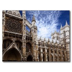 Classic photograph of Westminster Abbey, London, England postcard. Perfect for the travel aficionado or the student studying abroad