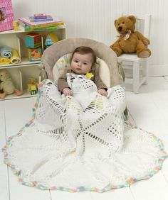 doily baby blanket-If you enjoy crocheting in the round,  you'll love creating this round baby blanket. start at the center and watch  the star pattern appear...