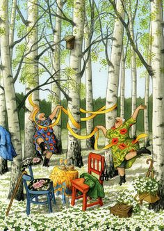 In a small village in Finland lives the world-famous artist-illustrator Inge Löök. Inge Look - pseudonym of the artist, real name Ingeborg Lievonen. Old Lady Humor, Art Fantaisiste, Look Older, Beltane, Norman Rockwell, Whimsical Art, Old Women, Old Ladies, Illustrators